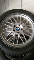 2x Hankook Icebear W300 tires 245/45R18 on BMW Rims