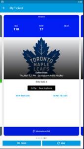 Dallas Stars vs Maple Leafs - Thurs. Nov 1st 7PM GOLDS MOBILE