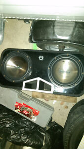 """2 12"""" Insignia Subs in Bassworx Box and Amp"""