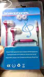 Zipper Earphones / Ear Buds - Brand New - IPod IPhone Android