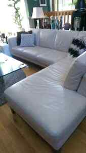 Off White Leather Sectional by Italsofa