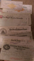 looking for information on old bank cheques