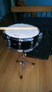 Basix's Snare drum, stand, travel backpack and Sticks