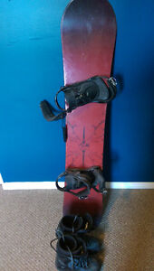 Fresh Snowboard with Bindings, Size 9 Womans Boots