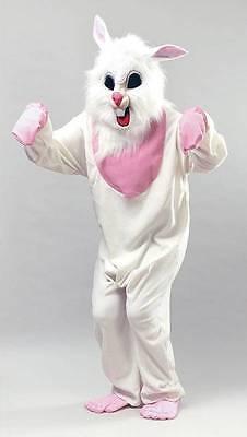 Adults Easter Bunny Costume White Rabbit Mascot Mens Ladies Fancy Dress Outfit (Mens White Rabbit Kostüme)