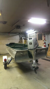 "14'0"" aluminum boat motor and trailer"