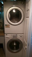 Newer stackable front load washer and dryer