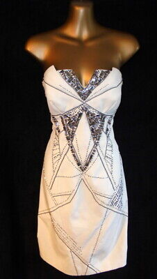 Karen Millen  12 Dress  in beige  bead & sequin embellished pencil style (B875