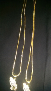 Gold chain with prayer hand pendant(cheap)
