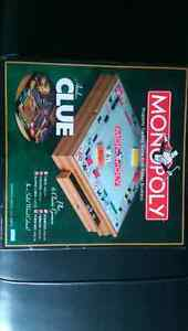 Monopoly, Clue and six other Games in Solid Wood Game Cabinet