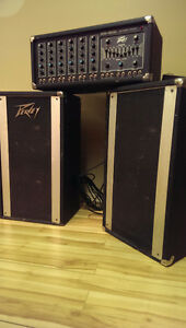 Peavey PA, guitar stands, music stand
