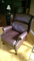 Mahogany Recliner with metal accents  OBO