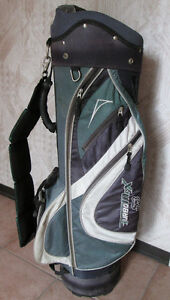 Older golf bag, 1,3 & 5 woods + 3 iron and 56' wedge