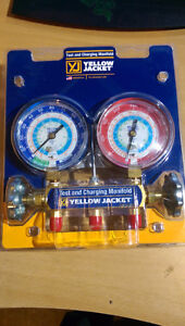 **HVAC** Yellow Jacket Manifold and Gauge (R134a, R22, R404a)