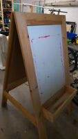 Double sided extremely sturdy easel with paint pot bins