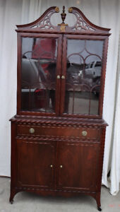 Elegant display cabinet/hutch, solid flame mahogany, refinished