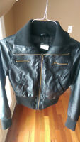Faux leather bomber jacket size small