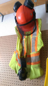 Hard Hat w/ear protection and safety vest