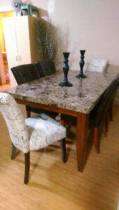 Solid granite dining set