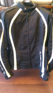 Ladies textile motorcycle jacket w removable thermal liner (L)