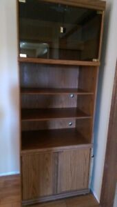 Cabinet / shelves - solid wood with glass - $35.00