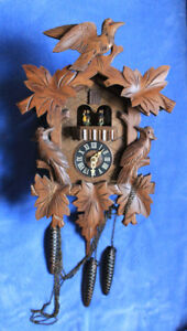 Vintage Mechanical Cuckoo Clock with Music Box & Pine Cone Weigh