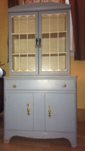 Lovely antique baby blue china cabinet
