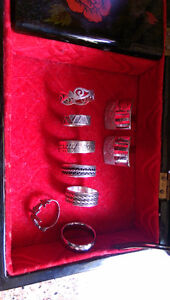 6 Silver rings .925 and 1 tungsten ring, cufflinks West Island Greater Montréal image 1