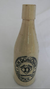 ANTIQUE GINGER BEER BOTTLE JUG STONEWARE W.H.DONOVAN HALIFAX, NS