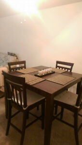 Solid Wood Bar Height Dinning Table with 4 chairs
