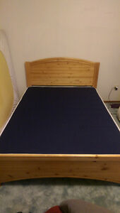SOLID WOOD DOUBLE BED FRAME WITH MATTRESS