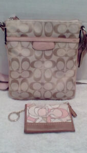 Coach Light Tan and Pink Crossbody/Swingback + coin holder