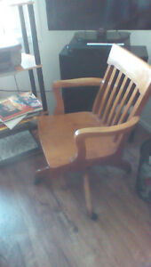 Antique office chair on wheels