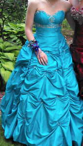 Turquoise/blue ball gown prom dress