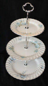 JOHNSON BROS. BLUE ROSES TIERED CAKE STAND