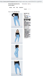 American Apparel High Waisted Light Wash Jeans - 31 Waist