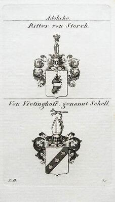 1827 Wappen Adelige Storch Ritter von Vietinghoff Schell Kupferstich Tyroff online kaufen