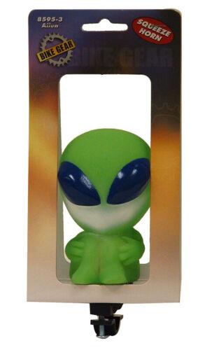 Green alien squeeze bike horn new handlebar mount