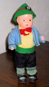 "Effanbee Boy Doll 7.5"" Circa 1930's with 'WHITE HORSE INN' Pin"