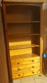 Large pine bookcase bookshelf
