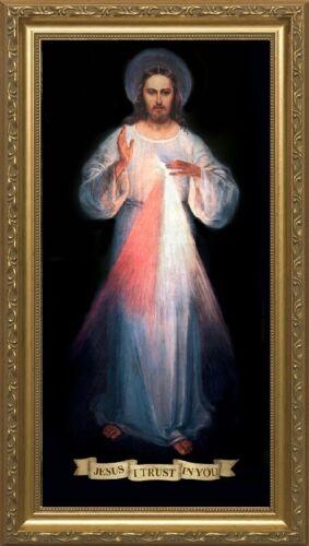 """5"""" x 10"""" Gold Wood Framed Vilnius Divine Mercy"""