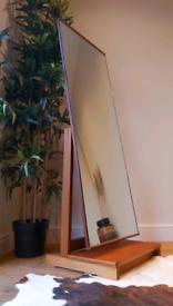 Vintage mid century 1960's teak freestanding mirror