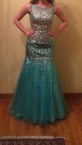 Joseph Ribkoff Mermaid Prom Dress aqua blue size 0