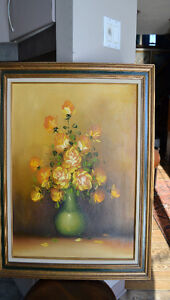 VINTAGE FLOWERS OIL ON CANVAS PAINTING 25 x 29 INCHES