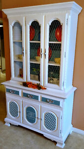 Real Hardwood, french inspired 2 piece hutch