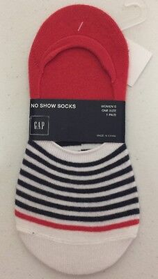 NWT GAP Woman's No Show Ankle Socks One Size 1 Pair Red Navy White Striped