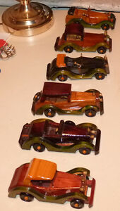Set Of 6 Vintage Hand Carved Wood Cars By Peoples Republic of Ch