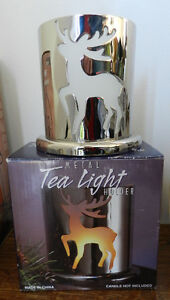 Never Used Metal Tea Light Holder in Box.Great For Cabin.
