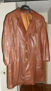 Vintage Retro 70's brown leather men's or Women's topcoat jacket