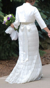 Ivory Satin and Lace Wedding Dress & Bolero Kitchener / Waterloo Kitchener Area image 3